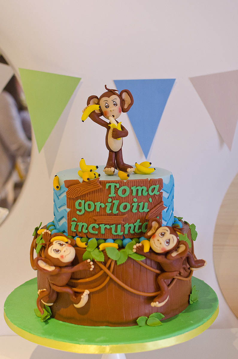 Tort de botez Baieti + Maimuta din Jungla